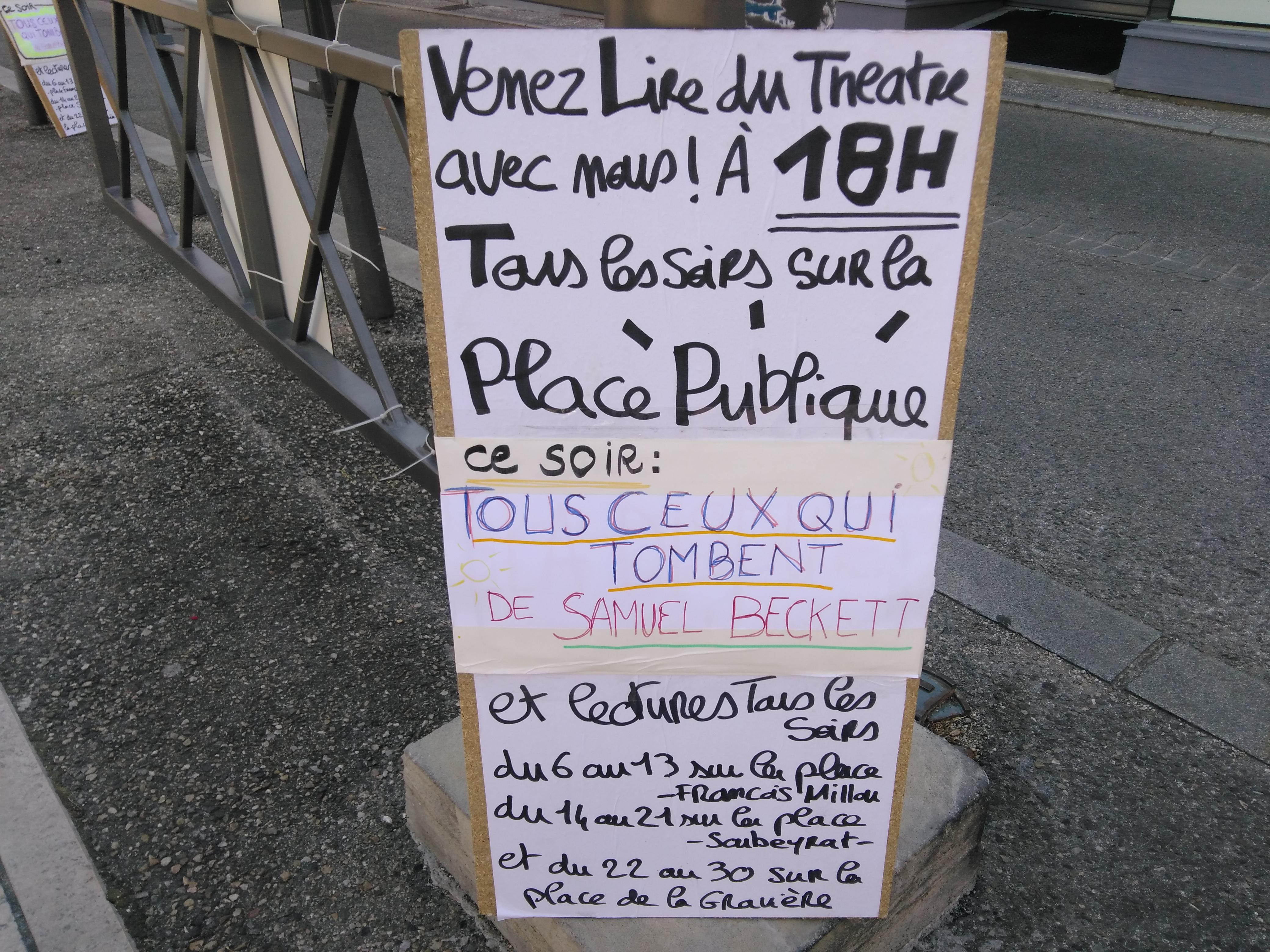 Dimanche 11 juin – lecture de TOUS CEUX QUI TOMBENT de Samuel Beckett – à 18h place François Millou à Sainte-Foy-lès-Lyon ! Dans 13 minutes!