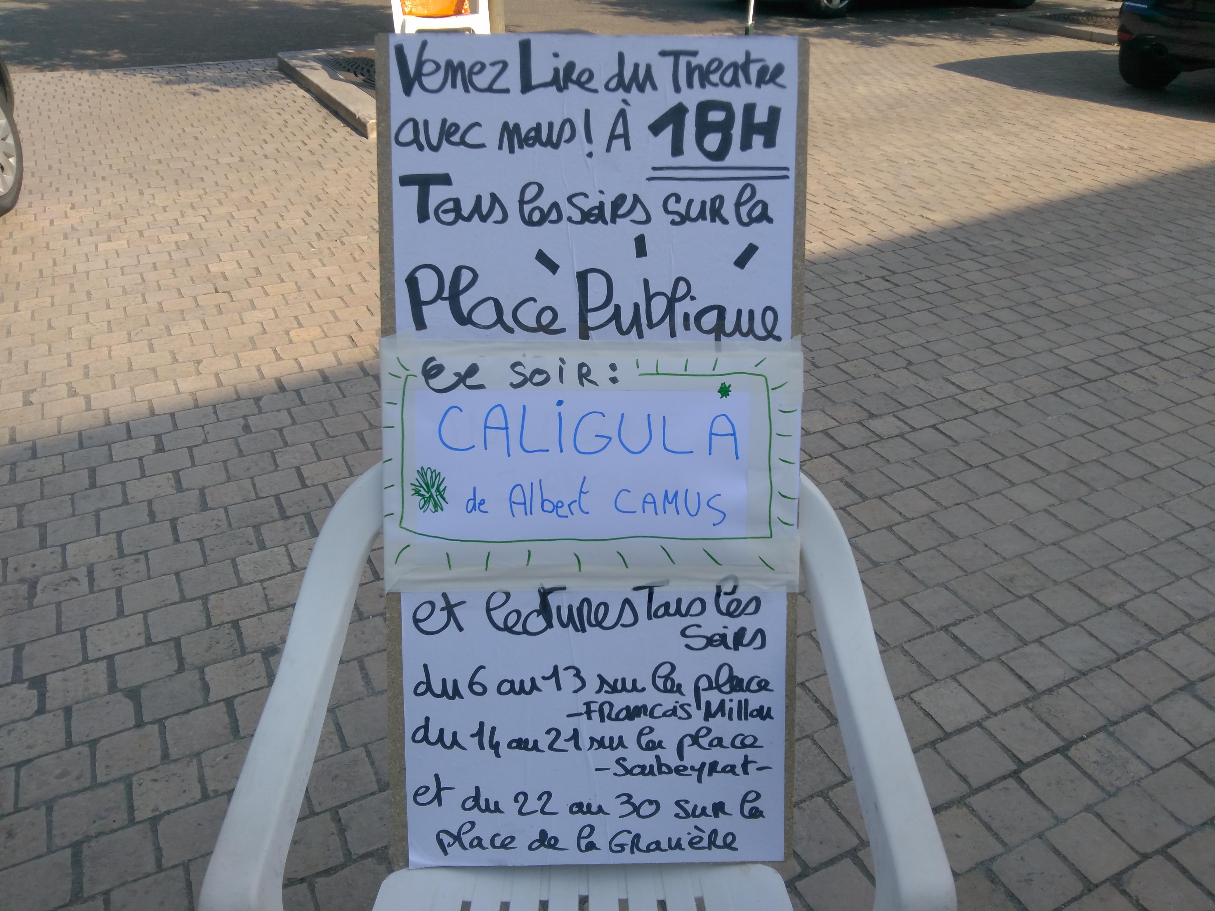 Ce soir, Lecture de CALIGULA, de Albert Camus!
